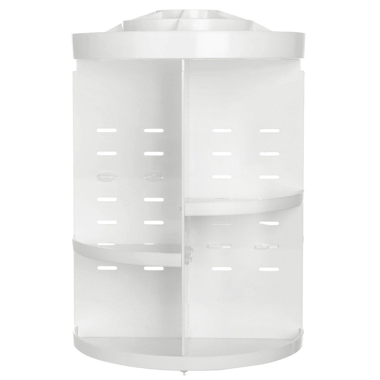 SONGMICS 360 Degree Rotating Makeup Organizer Adjustable Countertop Cosmetic Storage Box Display, Large Capacity, 7 Layers Brushes Lipsticks Toner, Black UJMU15BK, Round