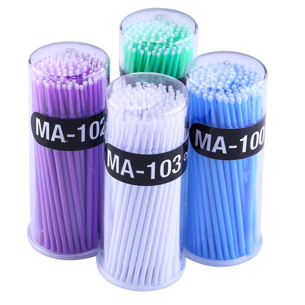 2.0mm 4 set // 400 piezas Micro cepillos aplicadores 1.2mm 2.5mm brotes de algod/ón mini brochas extensiones de pesta/ñas 1.5mm