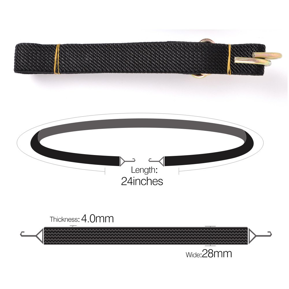 48 inches, Black Marcobrothers Flat Bungee Cord,2 Strips