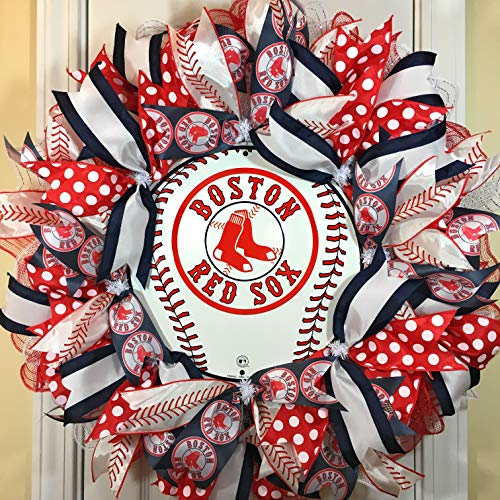 Boston Red Sox Wreath for Front Door with Deco Mesh and Ribbon, 24 Inches (Sox Red Boston Wreath)