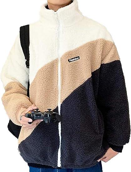 ボアジャケット メンズ ボアブルゾン フリースジャケット ボアコート アウター フリース 裏起毛 モコモコ 厚手 スプライス 暖かい 韓国風おしゃれ 冬服 ゆったり 柔らかい ファッション カジュアル