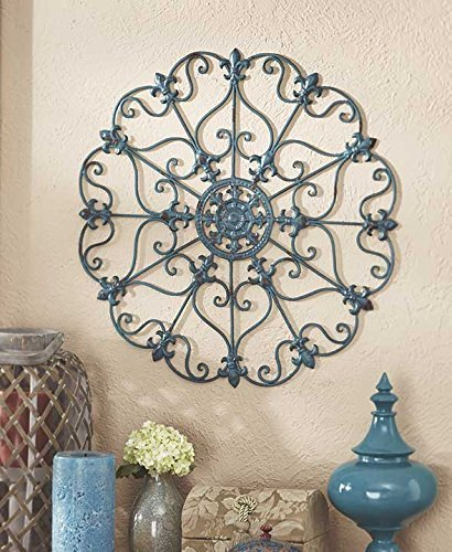 Blue Fleur De Lis - Teal Turquoise Fleur De Lis Metal Vintage Style Ornate Medallion Iron Wall Sculpture Plaque Decoration