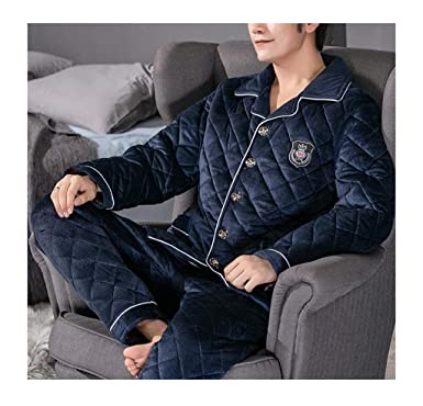 Femaroly Men Winter Pajamas Set Thick Three-Layer Quilted Fleece Flannel  Loungewear Pyjamas Deep Blue 4353539cf