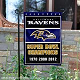 WinCraft Baltimore Ravens 3 Time Super Bowl Champions Double Sided Garden Flag