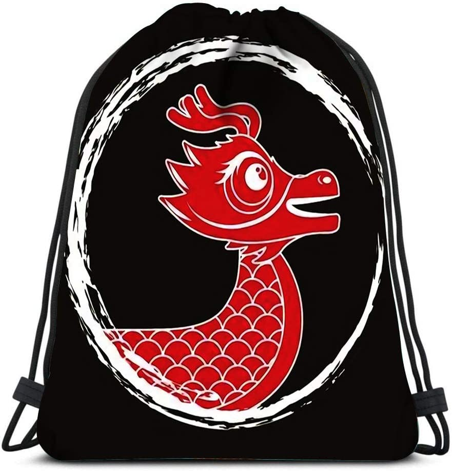 Drawstring Backpack Red Dragon Chinese Animal Fantasy Round Frame Dark Laundry Bag Gym Yoga Bag