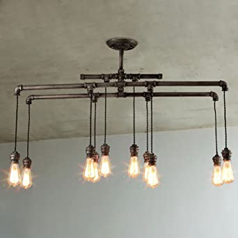 Baycheer hl409482 industrial style metal multi light large pendant baycheer hl409482 industrial style metal multi light large pendant lighting hanging pipe light lamp fixture aloadofball Image collections