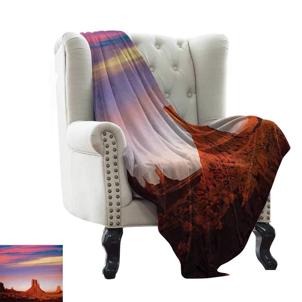 Leisure Blanket United States,Monument Valley West Mitten and Merrick Butte Sunset Utah Desert,Dark Orange Pink Blue Super Soft Faux Fur Plush Decorative Blanket 70''x90'' by LsWOW