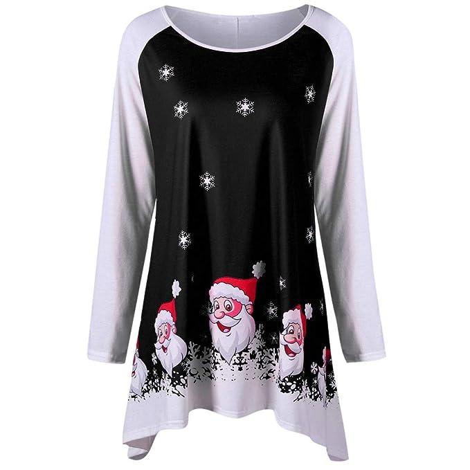 Luckycat Las Mujeres de Moda Feliz Navidad O-Cuello de Manga Larga Sonriendo Santa Claus