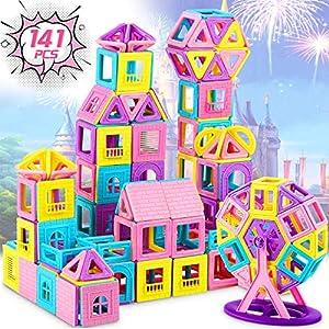 Dookey 141 PCS Magnetic Building Blocks Castle Magnetic Toys Magnet Tiles Gift, Magnetics Construction Booklet Learning…