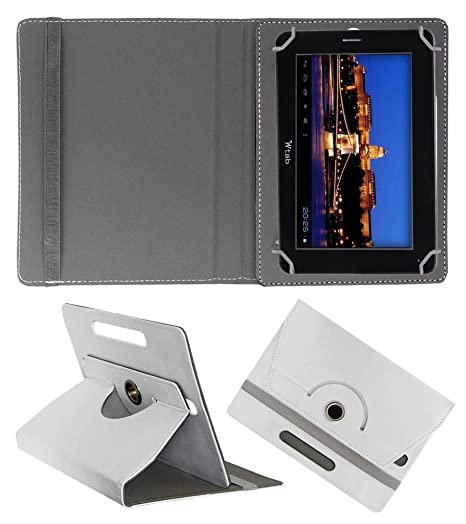 Acm Rotating Leather Flip Case Compatible with Bsnl Champion W Tab 705 Cover Stand White Tablet Accessories