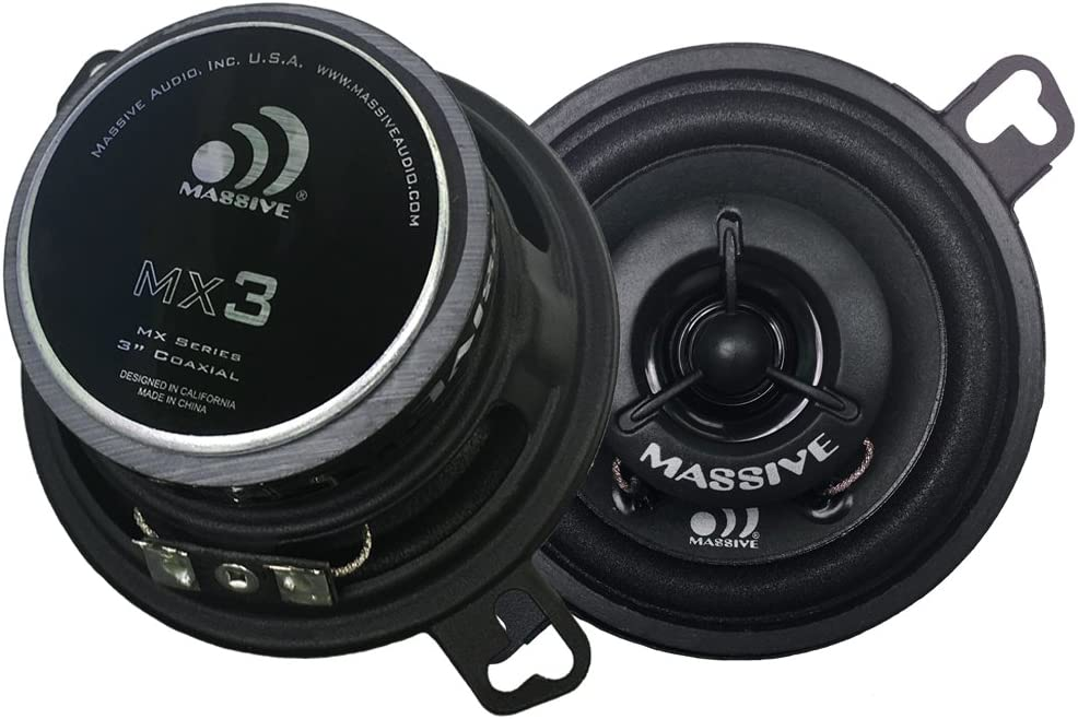 "Massive Audio MX3 MX Series Coaxial Speakers. 50 Watts, 4 Ohm, 25w RMS Heavy Duty 3.5"" 3-1/2"" Coaxial Audio Speakers. Enjoy Crystal Clear Sound with These Great Coaxial Speaker System (Sold in Pairs)"