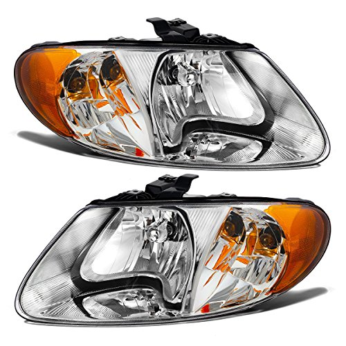 Partsam Driver and Passenger Side Headlights Headlamps Assembly Replacement for Dodge and Chrysler 01 02 03 04 05 06 07 Grand Caravan/Town&Country 2001 2002 2003 Voyager Halogen Chrome Housing