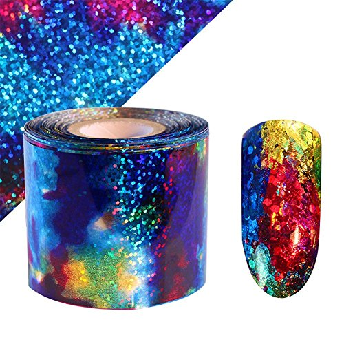 Born Wrap (BORN PRETTY 1m Gradient Starry Sky Nail Foil Blue Holographic Paper Nail Manicure Sticker)