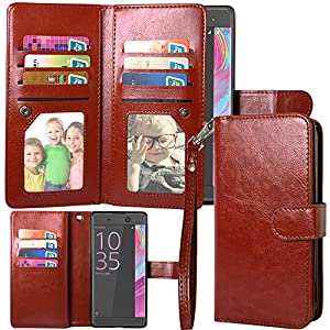 Xperia XA Ultra Case, Linkertech Magnetic Detachable 2 in 1 Leather Wallet Flip Pouch Case Cover with 12 Card Slots and Wrist Strap for Sony Xperia XA Ultra / Xperia C6