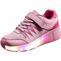 WINNEG Girls Rechargeable Led Light Up Single Wheel Roller Shoes Pink