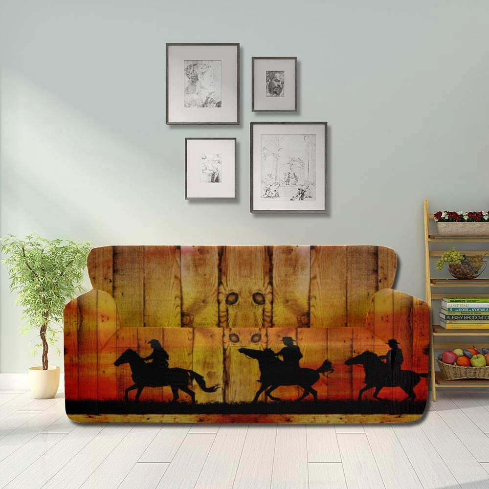 HZHENTIAN Western Cowboys On Horse in Desert Stretch Cushion Slipcover Sofa Chair Covers Fitted Furniture Protector 2&3 Seat Sofas