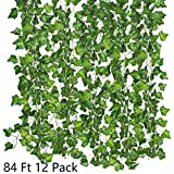 Bird Fiy 84 Ft Fake Ivy Silk Vines Hanging Plants Artificial Flowers Garland Greenery for Wedding Party Decorations DIY Floor Garden Office/Pack of 12
