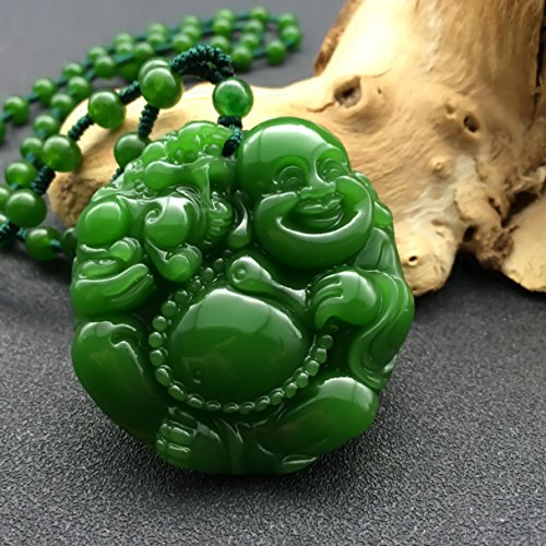 (EASTCODE Natural Green Hand-carved Chinese Hetian Jade Maitreya Buddha statue Pendant + Rope Necklace)