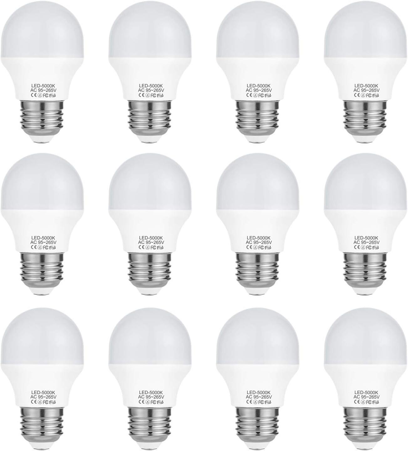 4 Watt A15 LED Daylight Light Bulb Equivalent 40 Watt Incandescent,Non Dimmable E26 Medium Base Light Bulb 5000k 120 Volt 360 Lumens G50 A15 Appliance (No Freezer) Refrigerator Light Bulb(12 Pack)