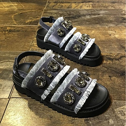 Xing Lin Sandalias De Mujer Fleece Sandalias Mujer Verano New Open-Toe Moda Casual Diamond Marea Zapatos De Suela Gruesa gray
