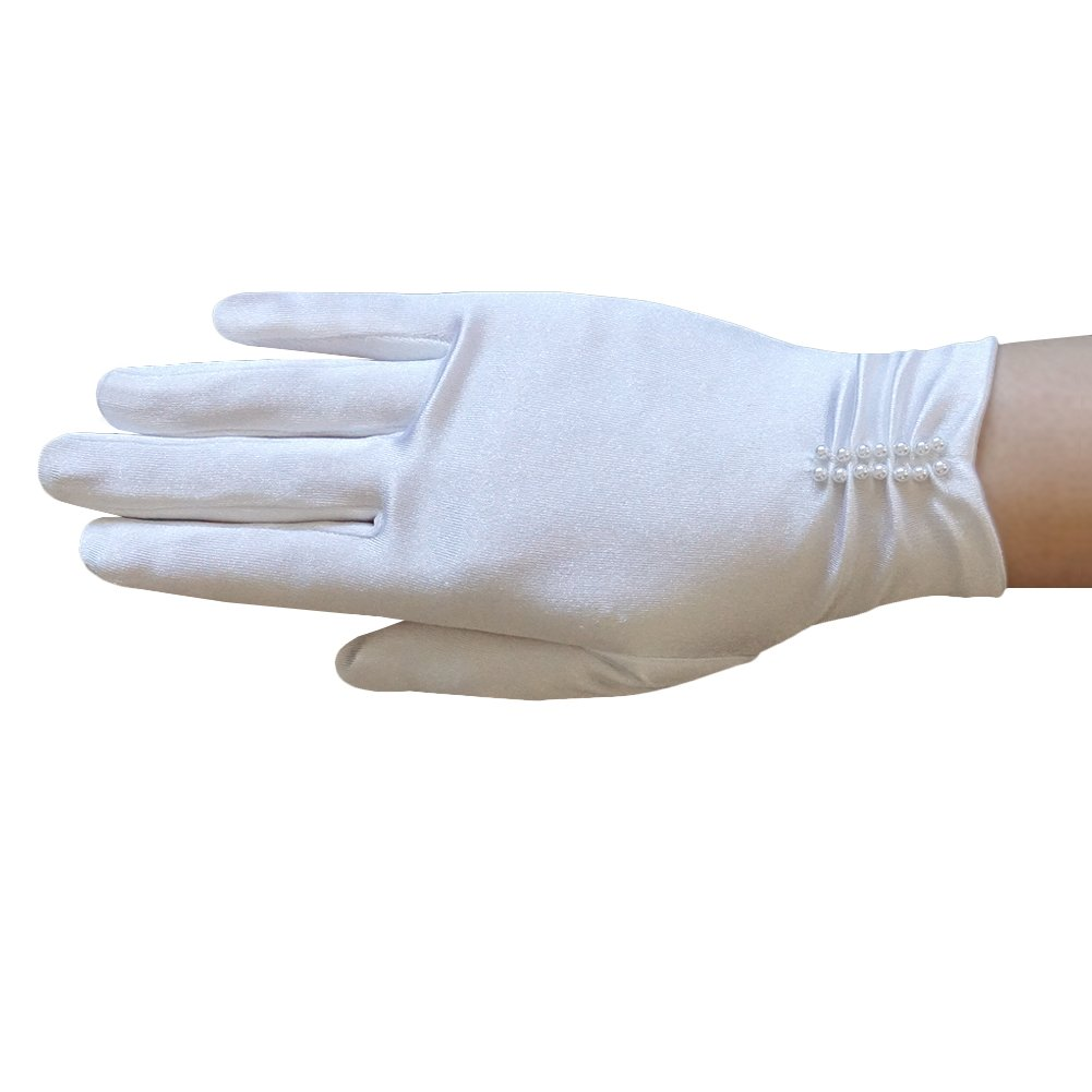 ZaZa Bridal Girl's Satin Gloves with ruched part and pearl beading 97