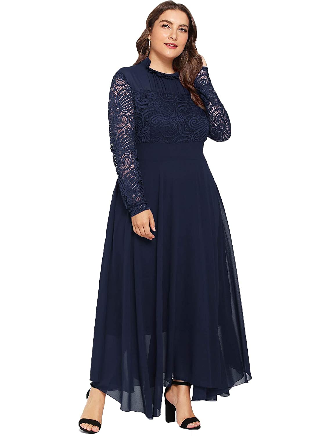 Victorian Plus Size Dresses | Edwardian Clothing, Costumes Milumia Womens Vintage Floral Lace Long Sleeve Ruched Neck Flowy Long Dress $39.99 AT vintagedancer.com