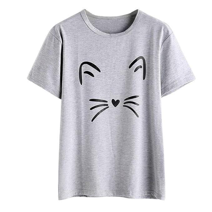 94a43cf62617db IMJONO T-Shirt Frauen Fashion Casual Kurzarm O-Neck Katze Printed Kausal  Bluse Tops