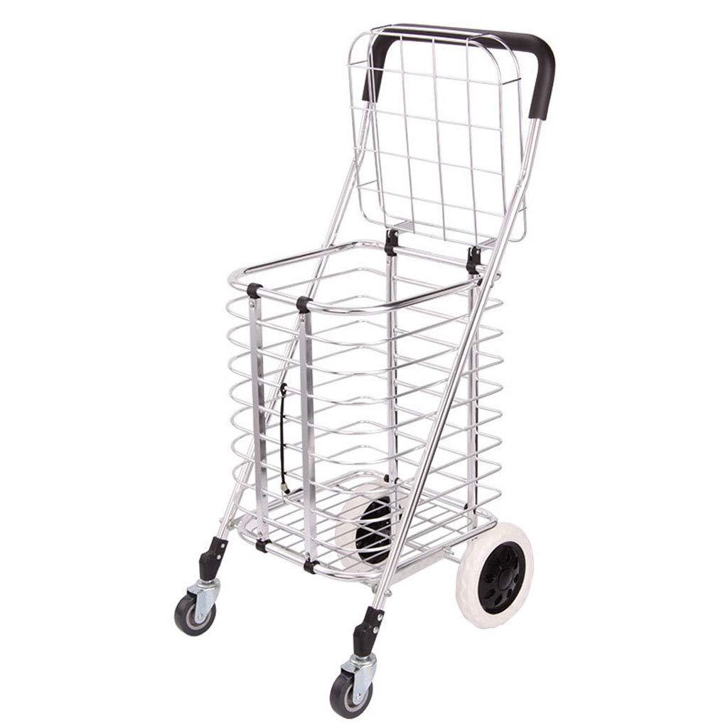 アメリカのスーパーマーケットショッピングカートポータブル折りたたみ荷物カートアルミトロリー、大容量の持ち運び可能な重い物 (色 : シルバー しるば゜)  シルバー しるば゜ B07KQ6K3T9