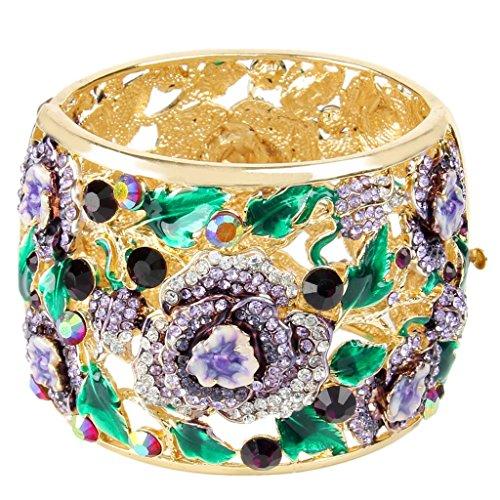 EVER FAITH Austrian Crystal Enamel Feast Rose Flower Leaf Bangle Bracelet Purple Gold-Tone