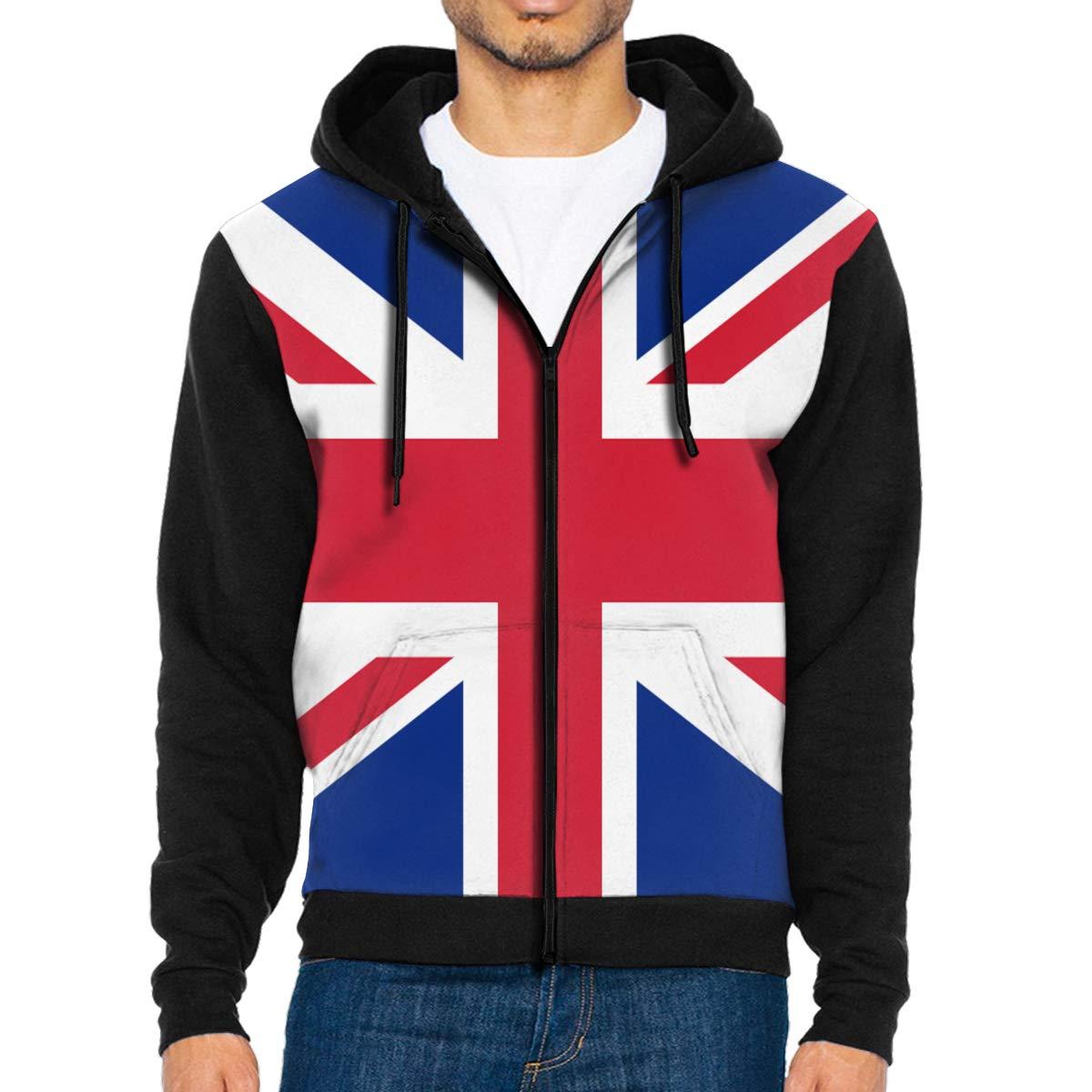 HEHE TAN Mens Pullover Hood British Flag Zip Hoodies Hooded Casual Jackets Coats