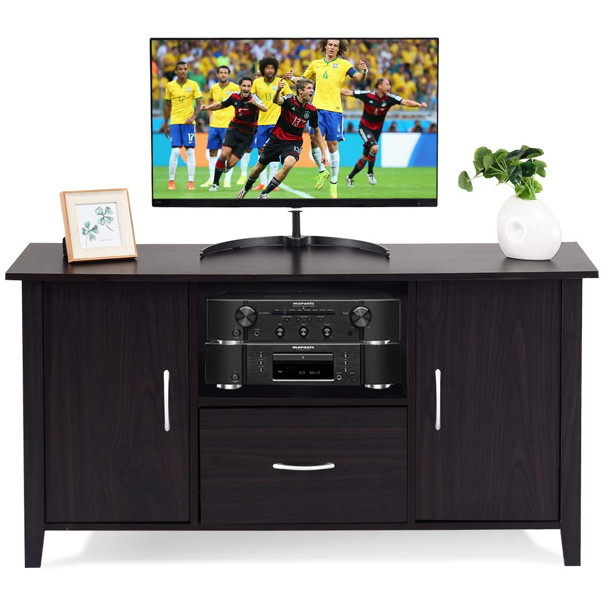 Amazon com tangkula modern tv stand wooden multipurpose home furniture storage console cabinet entertainment media center with shelf and drawer kitchen
