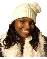 Satin Lined Knit Beanie Slouchy Hat with Pom Pom
