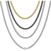 ChainsHouse Collar Cubano para Colgantes Hombres Mujeres, 3/6/9/12mm de Ancho 41-76cm de Largo [Platino Negro Dorado…