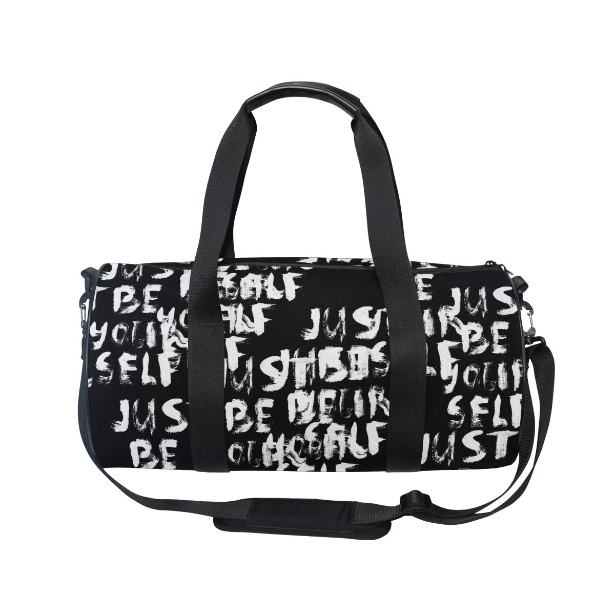 WIHVE Gym Duffel Bag Black White Crayon Letters Sports Lightweight Canvas Travel Luggage Bag