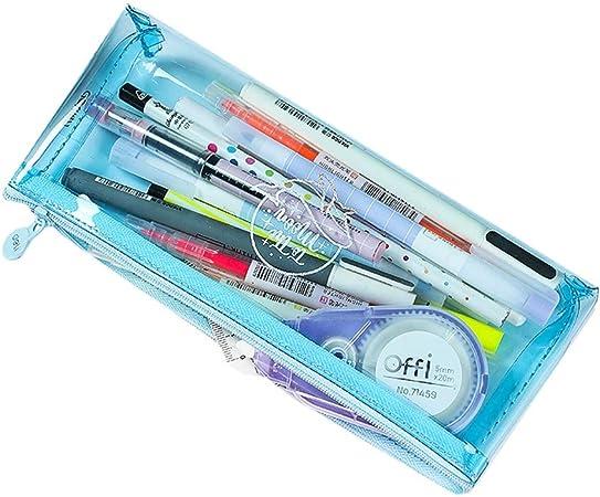 TXC- Estuche de lápices Estuche de lápices Transparente Estuche de lápices de Colores Estudiante con Estuche de lápices Lindo Estuche de lápices de Cristal Multifuncional: Amazon.es: Hogar