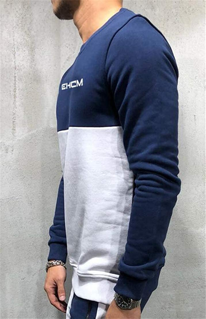 Frieed Mens Crewneck Casual Long Sleeve Contrast Color Pullover Sweatshirt