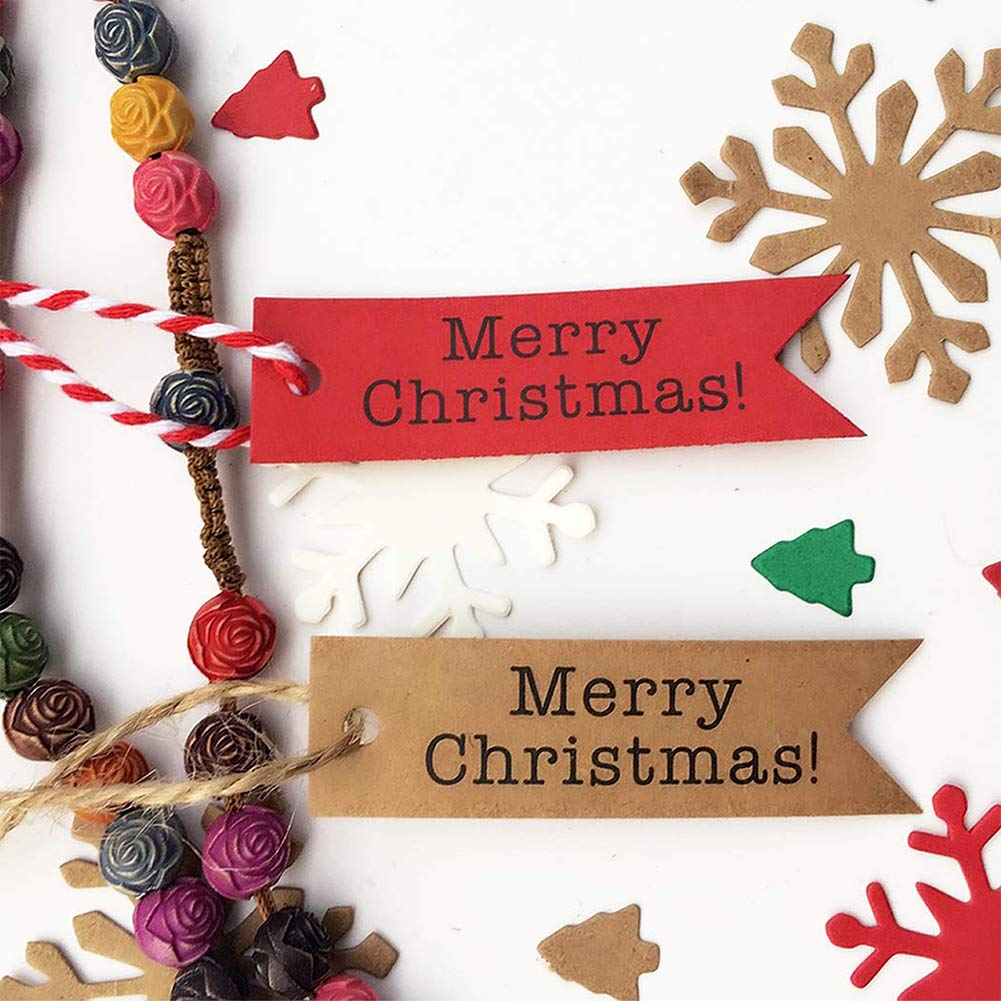 Kraft Paper Label, 200pcs Gift Label Craft Tag, with 2 Free Natural Hemp Ropes, for Christmas Gift Arts and Crafts Wedding Holiday Christmas Day