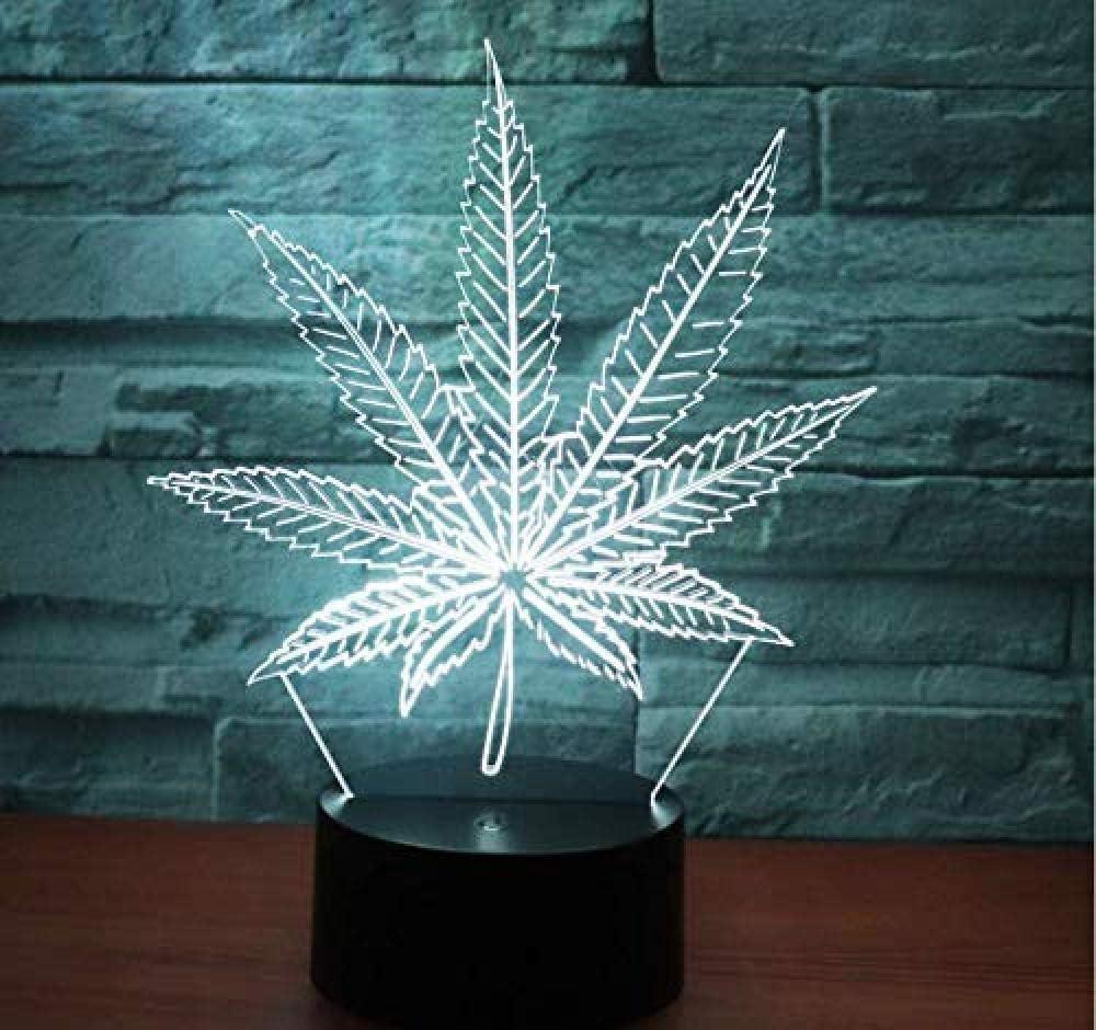 Hoja De Cannabis Lámparas 3D Ilusiones Óptica Luz Nocturna Led 7 Colores Luz Interruptor Táctil Regulable Usb/Batería Insertar Niños D Cumpleaños Regalo De Navidad