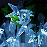 MeiLiio Solar String Light 30 LED Starfish Shape Decorative Ambiance Hanging Solar Powered Fairy Lights for Bedroom Wedding Garden Landscape Home Holiday Decorations (Cool White)