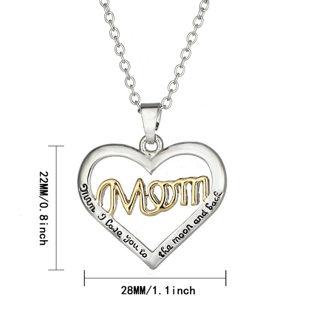 Mother Daughter Necklace I Love You Mom Silver Heart Pendant Necklace Mothers Day Jewelry Birthday Gift
