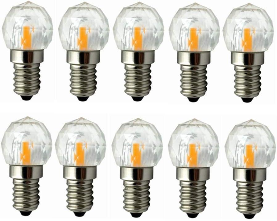 Bombilla LED de base regulable E14 Luz LED de 3W, juegos de chips COB LED, bombilla incandescente equivalente a 25 W, paquete de 10 paquetes de 180-200LM Bombillas LED de tornillo