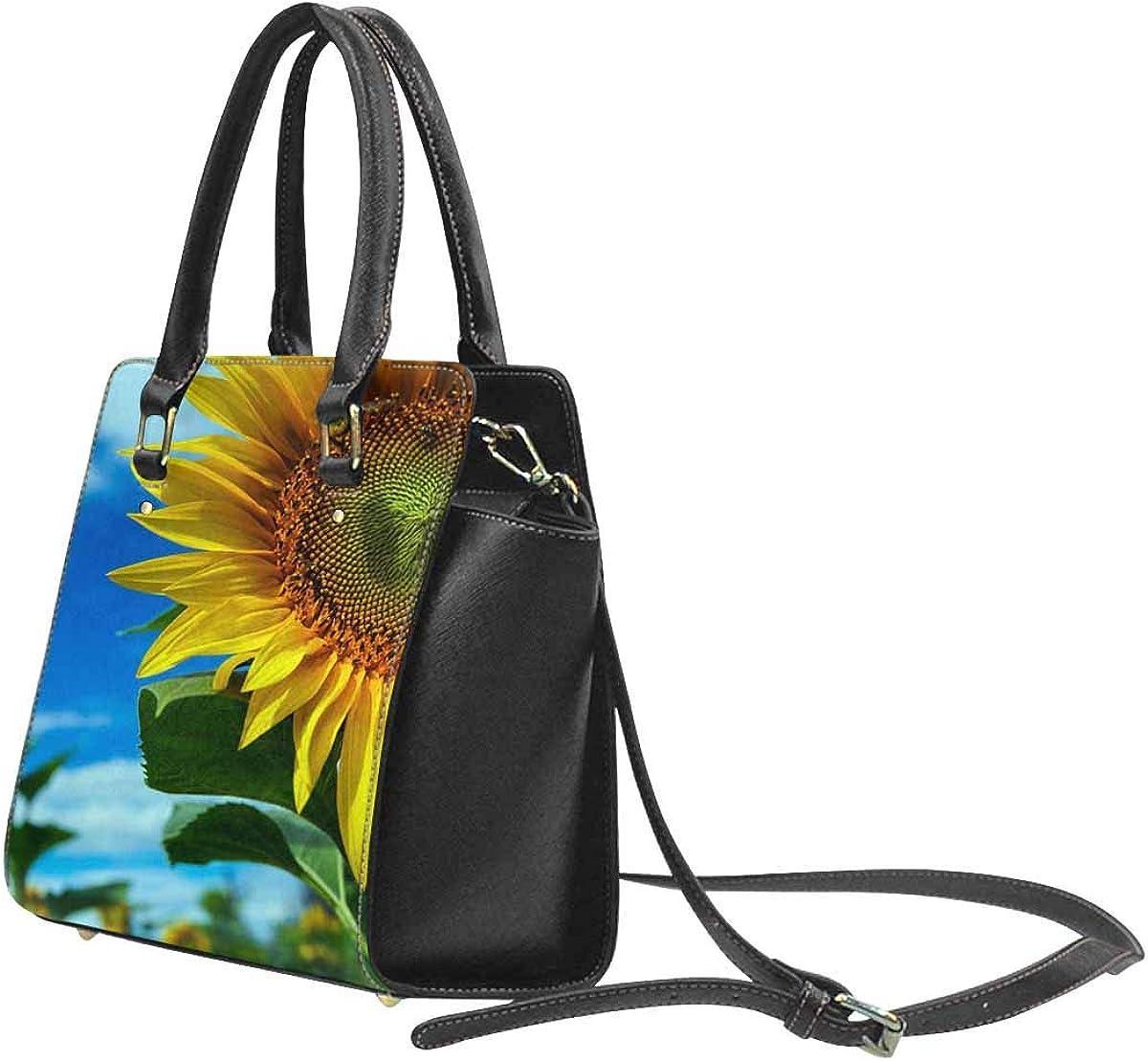INTERESTPRINT Sunflower Green Leaf Top Handle Satchel Purse for Woman Tote Shoulder Bag
