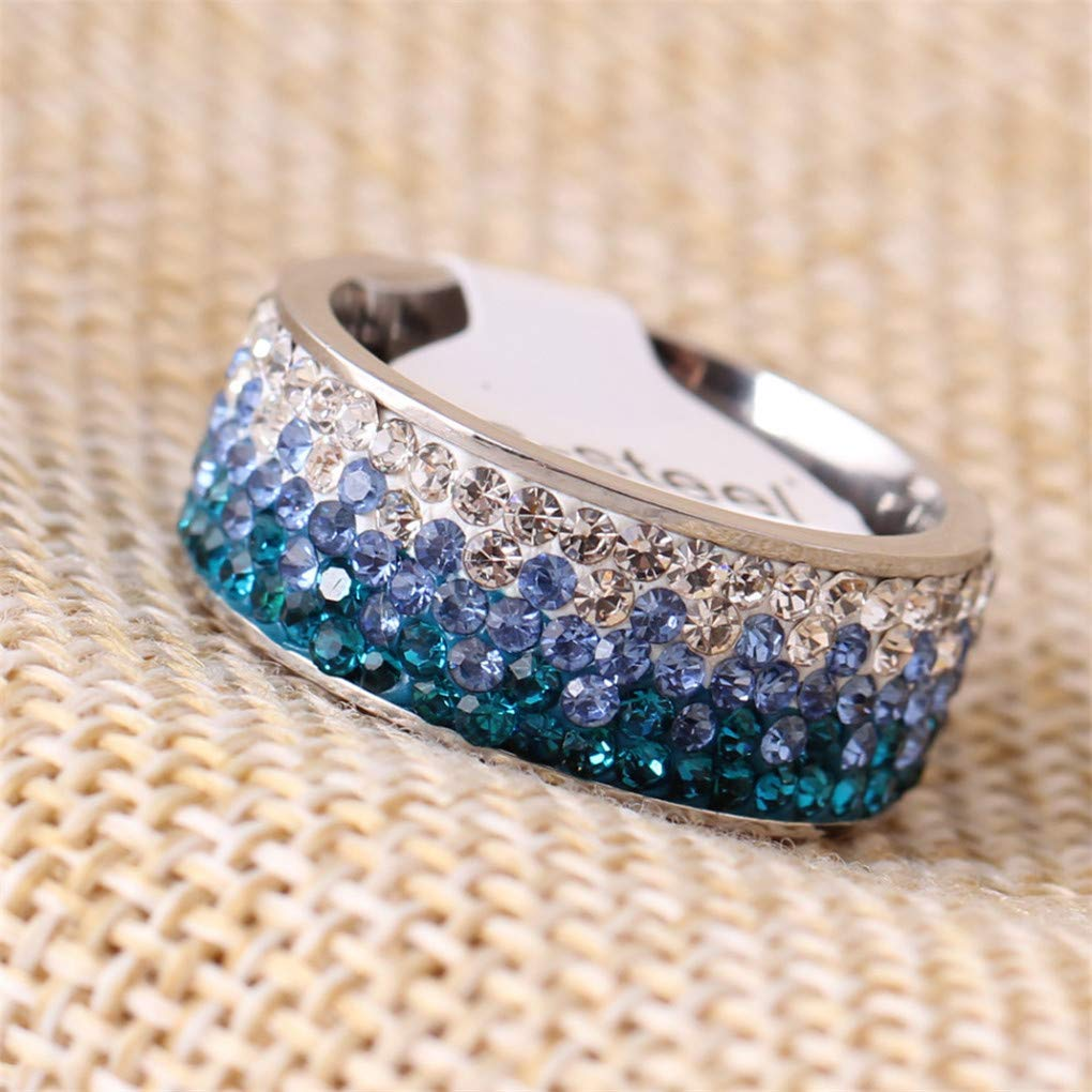 DARLING HER 6//7//8//9 Line Crystal Fashion Jewelry Ring Fashion Stainless Steel Ring for Women