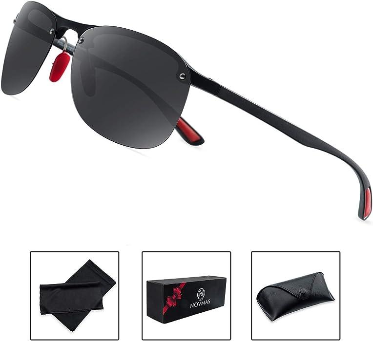 5d0b830414 NOVMAS Polarized Sports Sunglasses for Men and Women Ultra Light  Unbreakable TR Frame UV400 Protection for