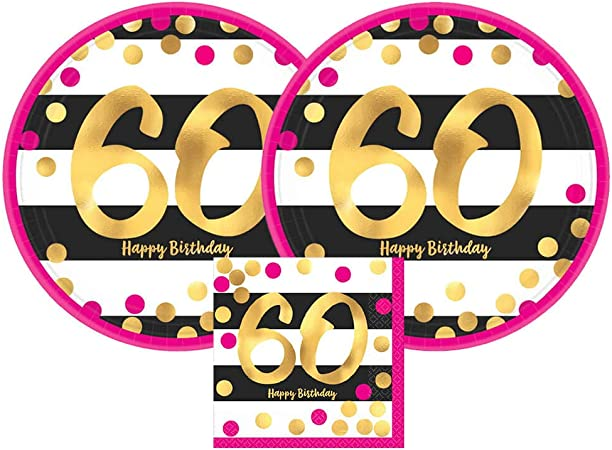 Sparkling Happy 60th Birthday Party Bundle with Paper Plates and Napkins for 8 Guests
