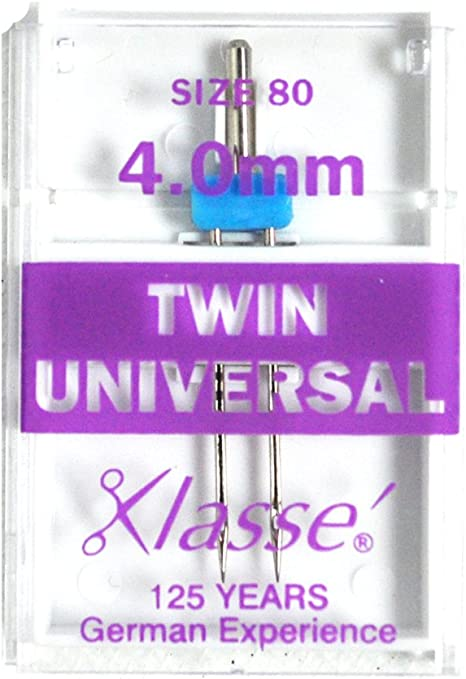Pack of 1 Needle TWIN UNIVERSAL 4.0 80//12 Klasse Sewing Machine Needles