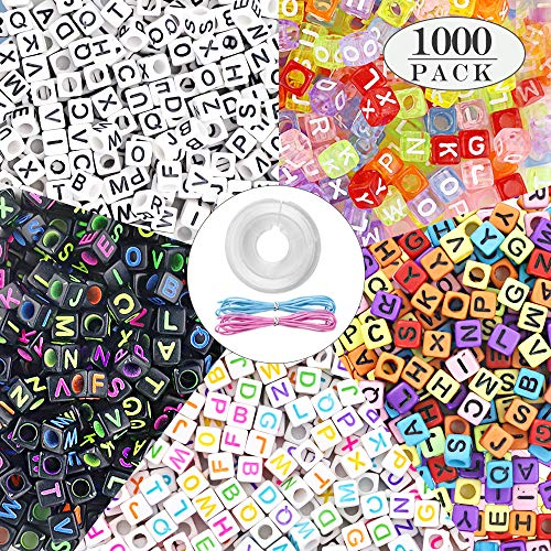 Quefe 1000pcs 5 Color Acrylic Alphabet Letter Beads with Elastic Cord Crystal String Cord for Jewelry Making Kids DIY Necklace Bracelet(6mm)