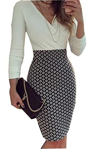 Comfy Womens V Neck Slim Fit Plaid Woven Slim Fit Bodycon Dress
