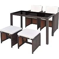 vidaXL Outdoor Dining Set 11 Pieces Black/Brown Poly Rattan