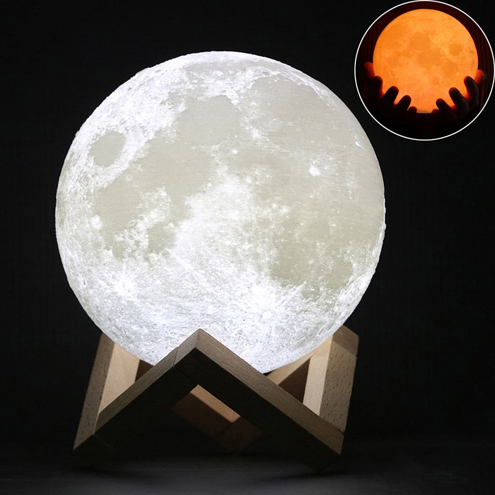 Wpky Moon Lamp Decorative Lights   5 Inch 3 D Printed Led Baby Night Light, Dimmable Color Changing, Touch Sensor Battery Operated Led Table Lamps Bedside Lamp For Bedrooms (5 Inch) by Wpky